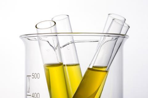Test tubes with urine samples