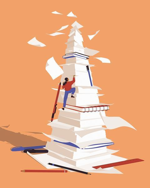 A graphic image showing a woman climbing a mountain of paperwork