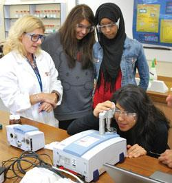 Students get hands on experience of using cutting edge research equipment
