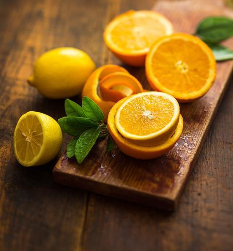 Citrus fruits on a chopping board