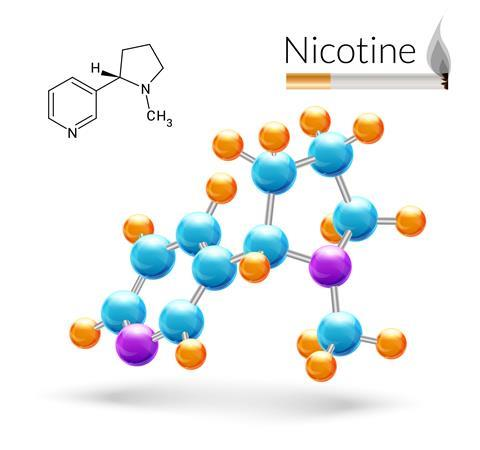 2D and 3D illustration of a nicotine molecule