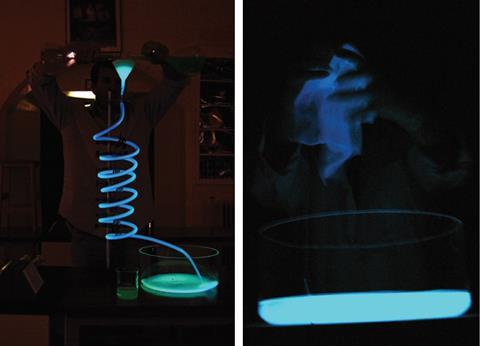The oxiation of luminol through spirals and rags