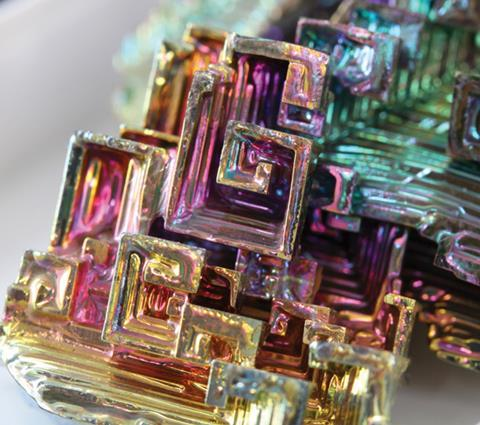 Iridescent bismuth crystal
