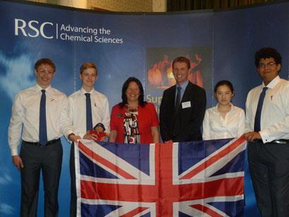 2012 UK Chemistry Olympiad team (from left): Walter Kähm, Thomas Spence, Ella Mi and Callum Bungey. Also pictured are RSC President Lesley Yellowlees and Richard Longden, INEOS (centre).