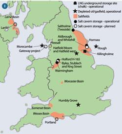 Figure 1 - Underground natural gas storage locations