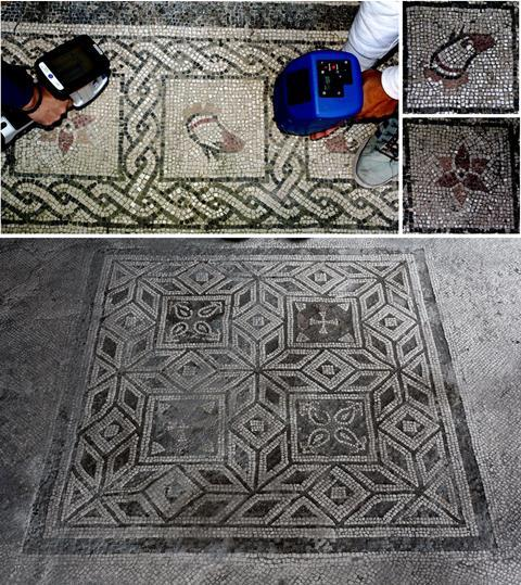An image showing one of the mosaics under investigation at the House of Gilded Cupids