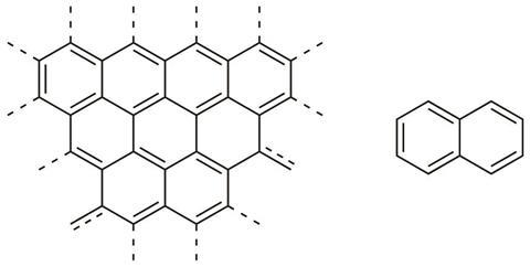 Chemical structures of graphene and naphthalene